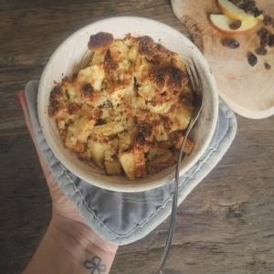 Ontbijten met appel kruimel taart